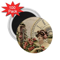 French Vintage Girl Roses Clock 2 25  Magnets (100 Pack)