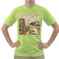 French Vintage Girl Roses Clock Green T Shirt