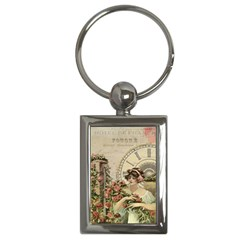French Vintage Girl Roses Clock Key Chains (rectangle)