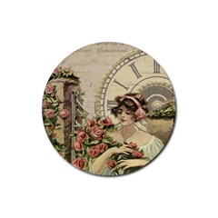 French Vintage Girl Roses Clock Rubber Coaster (round)