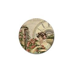 French Vintage Girl Roses Clock Golf Ball Marker