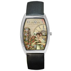 French Vintage Girl Roses Clock Barrel Style Metal Watch