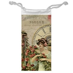 French Vintage Girl Roses Clock Jewelry Bag