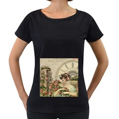 French Vintage Girl Roses Clock Women s Loose Fit T Shirt (black)