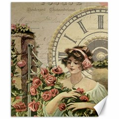 French Vintage Girl Roses Clock Canvas 20  X 24