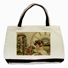 French Vintage Girl Roses Clock Basic Tote Bag (two Sides)