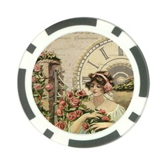 French Vintage Girl Roses Clock Poker Chip Card Guard