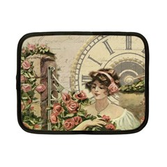 French Vintage Girl Roses Clock Netbook Case (small)