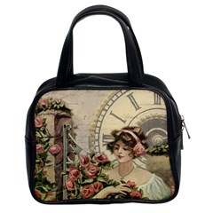 French Vintage Girl Roses Clock Classic Handbags (2 Sides)