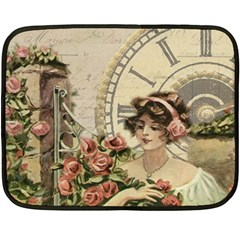 French Vintage Girl Roses Clock Fleece Blanket (mini)
