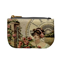 French Vintage Girl Roses Clock Mini Coin Purses