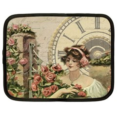 French Vintage Girl Roses Clock Netbook Case (xxl)