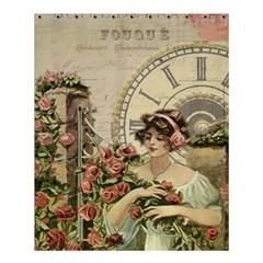 French Vintage Girl Roses Clock Shower Curtain 60  X 72  (medium)