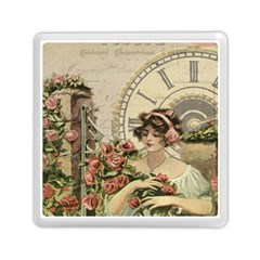 French Vintage Girl Roses Clock Memory Card Reader (square)