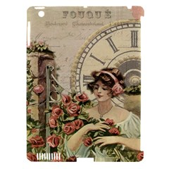 French Vintage Girl Roses Clock Apple Ipad 3/4 Hardshell Case (compatible With Smart Cover)