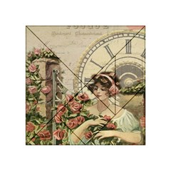 French Vintage Girl Roses Clock Acrylic Tangram Puzzle (4  X 4 )