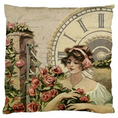 French Vintage Girl Roses Clock Large Cushion Case (two Sides)