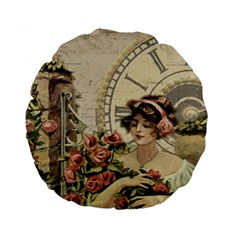 French Vintage Girl Roses Clock Standard 15  Premium Round Cushions