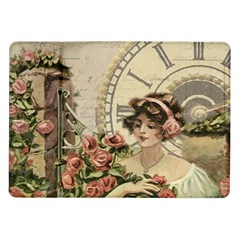 French Vintage Girl Roses Clock Samsung Galaxy Tab 10 1  P7500 Flip Case