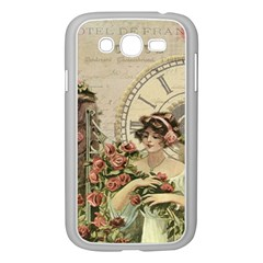 French Vintage Girl Roses Clock Samsung Galaxy Grand Duos I9082 Case (white)