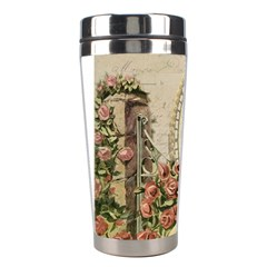 French Vintage Girl Roses Clock Stainless Steel Travel Tumblers