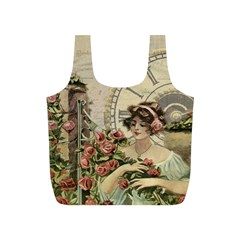 French Vintage Girl Roses Clock Full Print Recycle Bags (s)