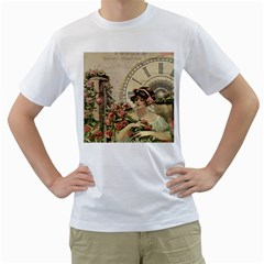French Vintage Girl Roses Clock Men s T Shirt (white)