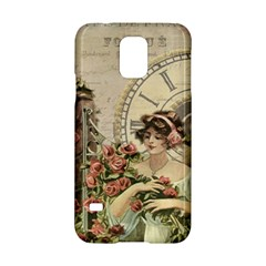 French Vintage Girl Roses Clock Samsung Galaxy S5 Hardshell Case