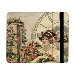 French Vintage Girl Roses Clock Samsung Galaxy Tab Pro 8 4  Flip Case
