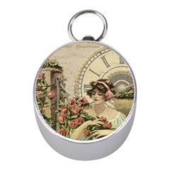 French Vintage Girl Roses Clock Mini Silver Compasses