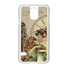 French Vintage Girl Roses Clock Samsung Galaxy S5 Case (white)