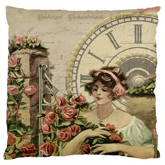 French Vintage Girl Roses Clock Large Flano Cushion Case (one Side)