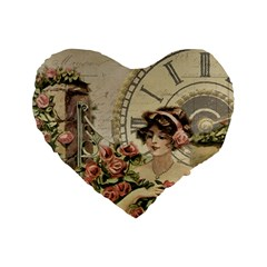 French Vintage Girl Roses Clock Standard 16  Premium Flano Heart Shape Cushions