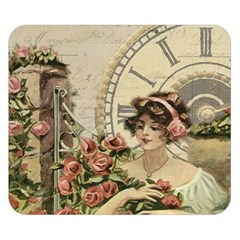 French Vintage Girl Roses Clock Double Sided Flano Blanket (small)