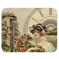 French Vintage Girl Roses Clock Double Sided Flano Blanket (medium)