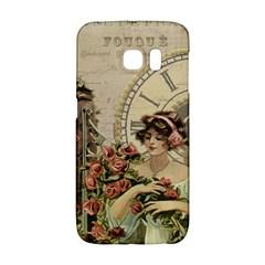 French Vintage Girl Roses Clock Galaxy S6 Edge