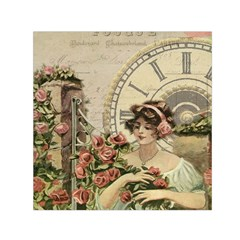 French Vintage Girl Roses Clock Small Satin Scarf (square)
