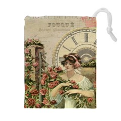 French Vintage Girl Roses Clock Drawstring Pouches (extra Large)
