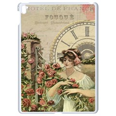 French Vintage Girl Roses Clock Apple Ipad Pro 9 7   White Seamless Case