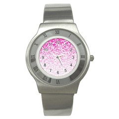 Halftone Dot Background Pattern Stainless Steel Watch