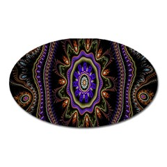 Fractal Vintage Colorful Decorative Oval Magnet