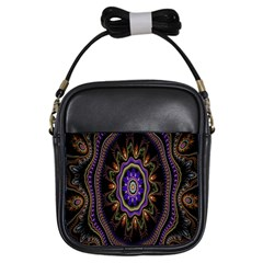 Fractal Vintage Colorful Decorative Girls Sling Bags
