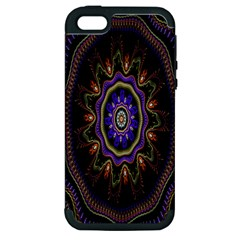 Fractal Vintage Colorful Decorative Apple Iphone 5 Hardshell Case (pc+silicone)