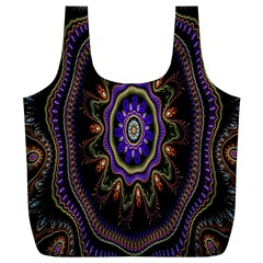 Fractal Vintage Colorful Decorative Full Print Recycle Bags (l)