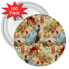 Seamless Vintage Design 3  Buttons (100 Pack)