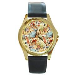 Seamless Vintage Design Round Gold Metal Watch