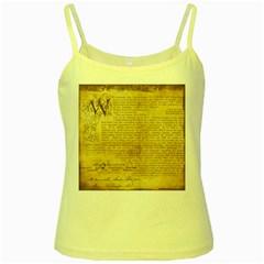 Vintage Background Paper Yellow Spaghetti Tank