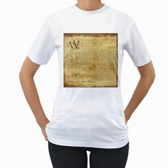 Vintage Background Paper Women s T Shirt (white) (two Sided)