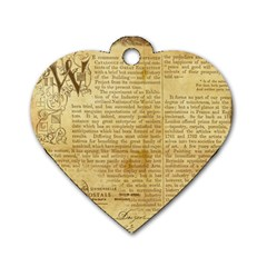 Vintage Background Paper Dog Tag Heart (two Sides)