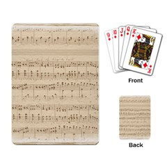 Vintage Beige Music Notes Playing Card